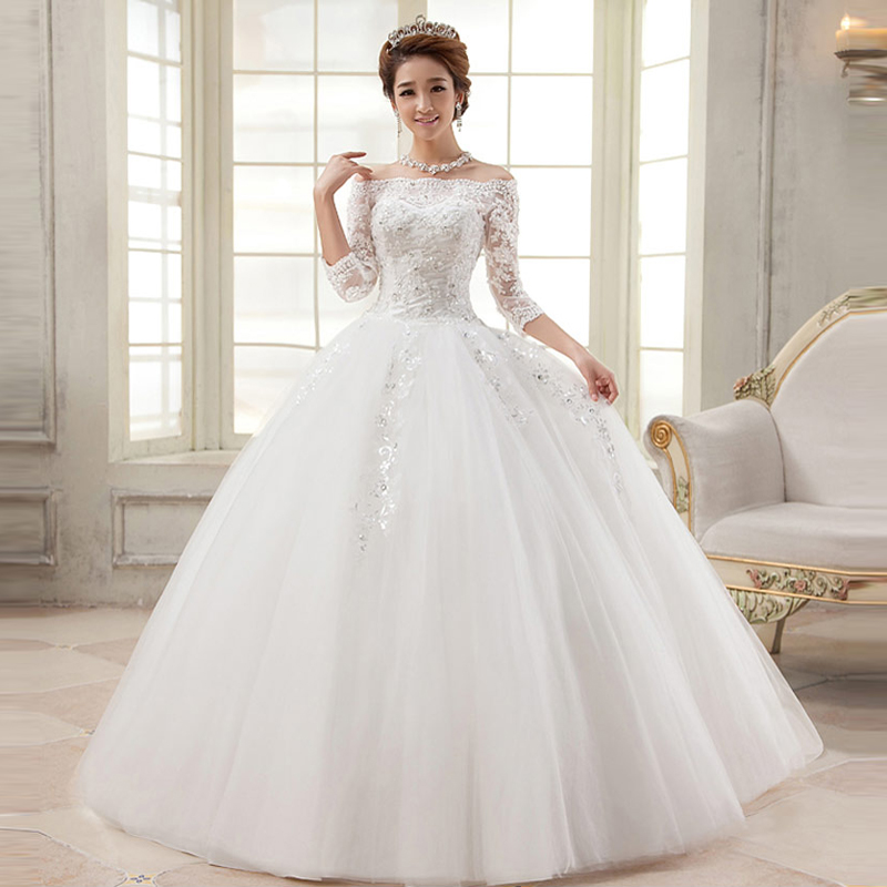 lace wedding dress vestido de noiva robe de soiree 3 4 sleeve boat neck casamento vestido de. Black Bedroom Furniture Sets. Home Design Ideas