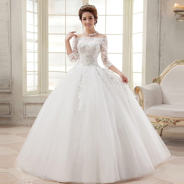 Robe De Soriee New Simple Wedding Dress Full Sleeve Lace: Lace Wedding Dress Vestido De Noiva Robe De Soiree 3/4