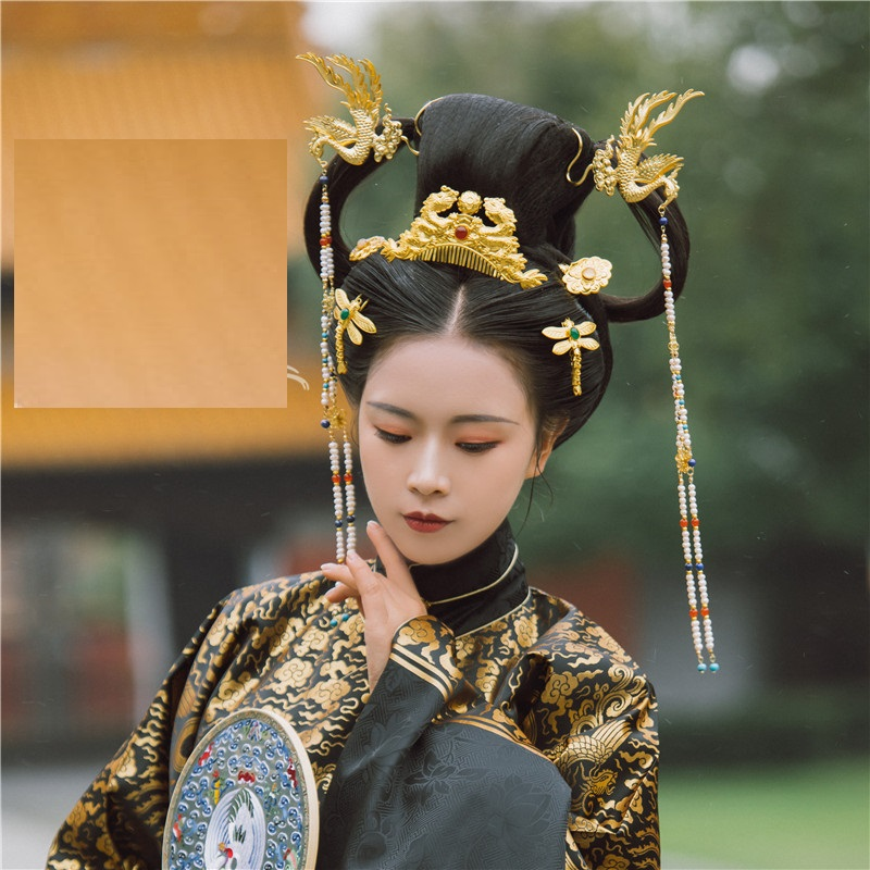 LYZ Tao Hua Du Ming Dynasty Hair Tiara Set Chinese Vintage Hand Carving Headwear Bride Wedding DiJi Makeup Hair Jewelry