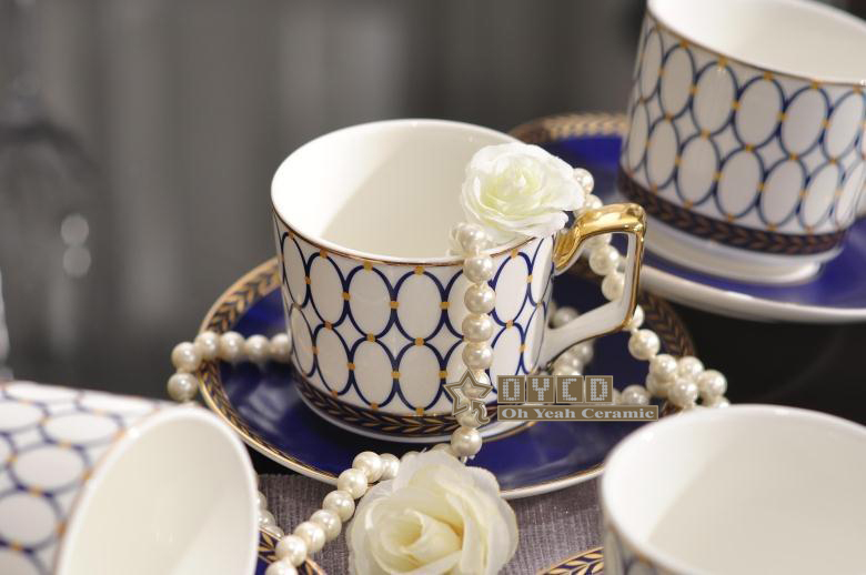 Porcelain Coffee Cup And Saucer Super White Bone China Blue Round Design Set One New Product In Cups Saucers From Home