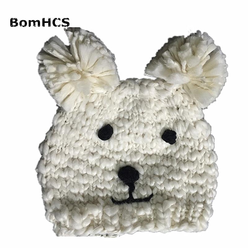 BomHCS Cute Bear Baby's Beanie 100% Handmade Winter Warm Knitted Children's Hat Ears Cap