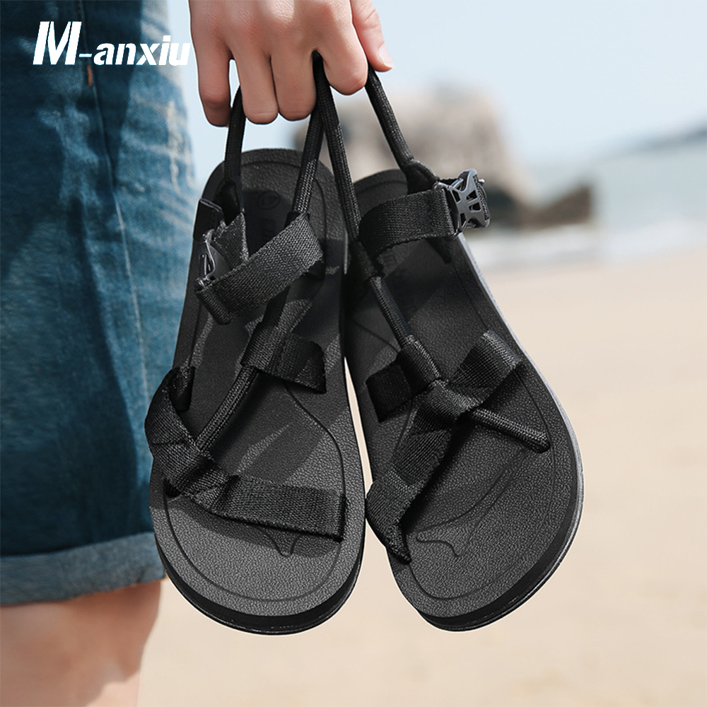 2018 Summer Men Ankle Strap Buckle Rubber Sole Antiskid Flat Solid Color Cross Tied Sandal M-anxiu Casual Leisure Beach Sandal
