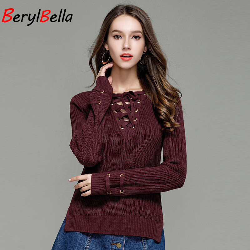 BerylBella 2017 Fall Women Pullover Sweater Slim Long Sleeve Knitted Blouse V-neck Lace up Crocheted Knitwear