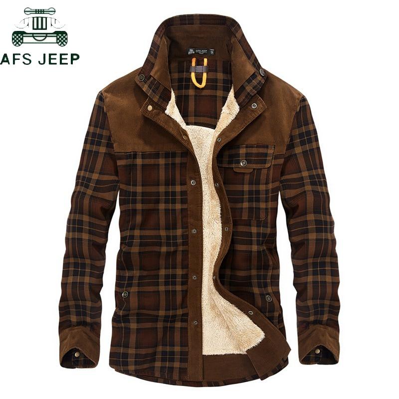 AFS JEP Hommes Hiver Flanelle Épaisse Toison Plaid Robe Chemises Hommes Coton À Manches Longues Casual Chemises Hommes Plus La Taille 3XL chemise homme