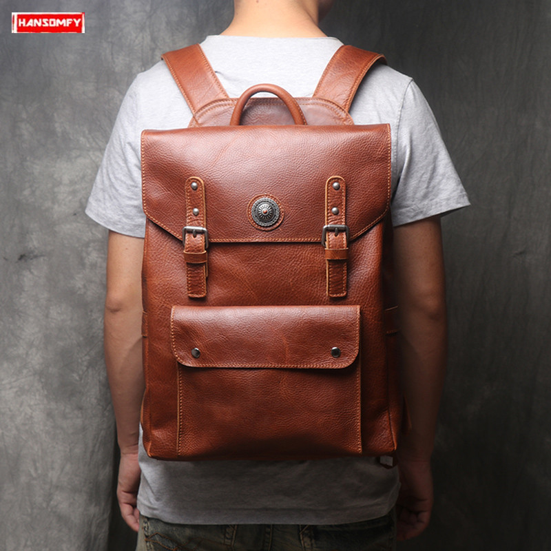 2019 New genuine leather men backpack simple business 15.6 inch laptop backpacks large capacity computer bag leisure travel bags