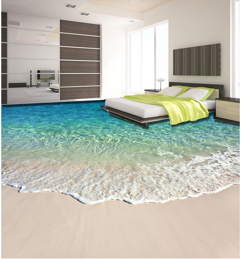 Buy beach beautiful seaside scenery 3d for Bathroom floor mural