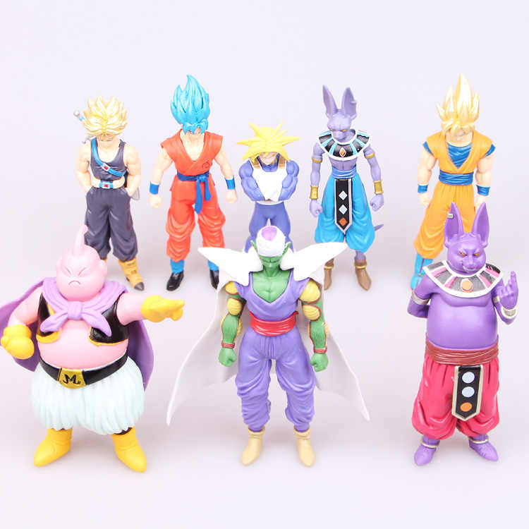 Destruição de vírus Deus Kakarotto 8 pcs Anime Japonês Figuras Vegeta Frieza Vegeta Figuras de Brinquedo Ação Pvc Modelo Dragon Ball