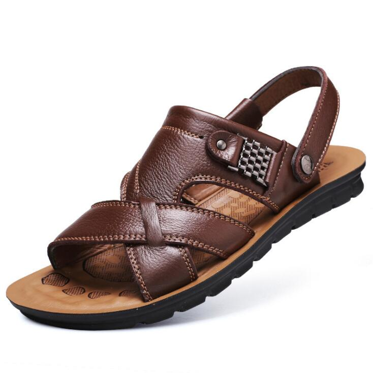 2020 New Men's Leather Casual Sandals And Slippers Classic Beach Shoes Mens Sandals Zapatos De Hombre Mens Sandals Summer