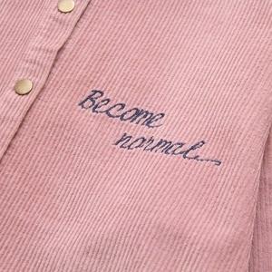 Image 5 - Plus größe Cord Stickerei Brief lose frauen shirts jacke 2019 frühling casual damen langarm bluse mäntel weibliche tops