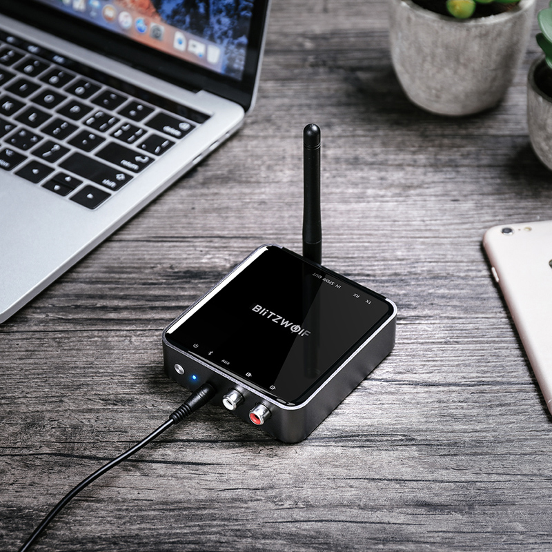 BlitzWolf BW-BR4 V5.0 Wireless bluetooth 2 in 1 Receiver Transmitter HD Music Audio Adapter 3.5mm Aux for Speaker TV MP3
