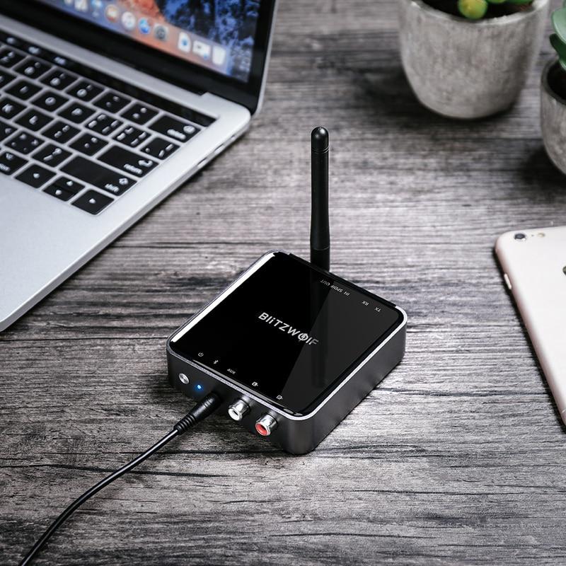 BlitzWolf BW-BR4 V5.0 bluetooth sans fil 2 dans 1 Émetteur-Récepteur aptX HD Musique adaptateur audio 3.5mm Aux pour Haut-Parleur TV MP3 - 5