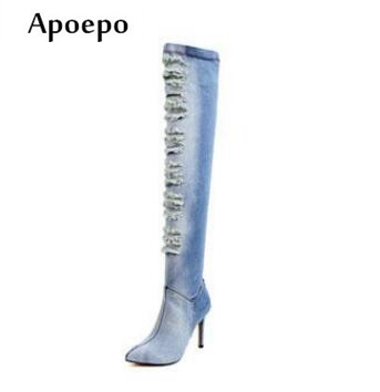 цены Apoepo 2018 Spring Fashion Ripped Jeans Boots Sexy Pointed Toe Distress Denim High Heel Boots Over the knee woman boots