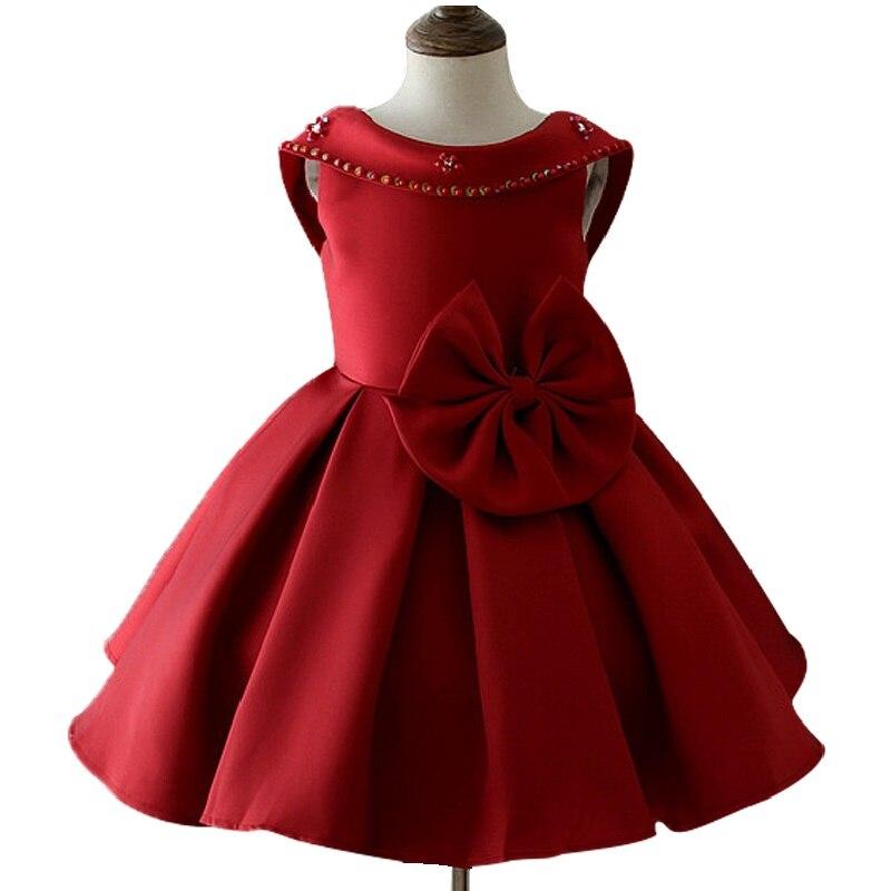 3-10 year Children girl elegant Princess banquet dress European and American style Bare back dress Big bow Sequins dress