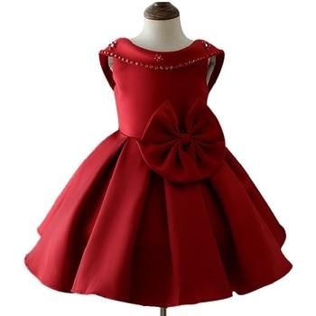 3-10 year Children girl elegant Princess banquet  dress European and American style Bare back dress Big bow Sequins dress floral design