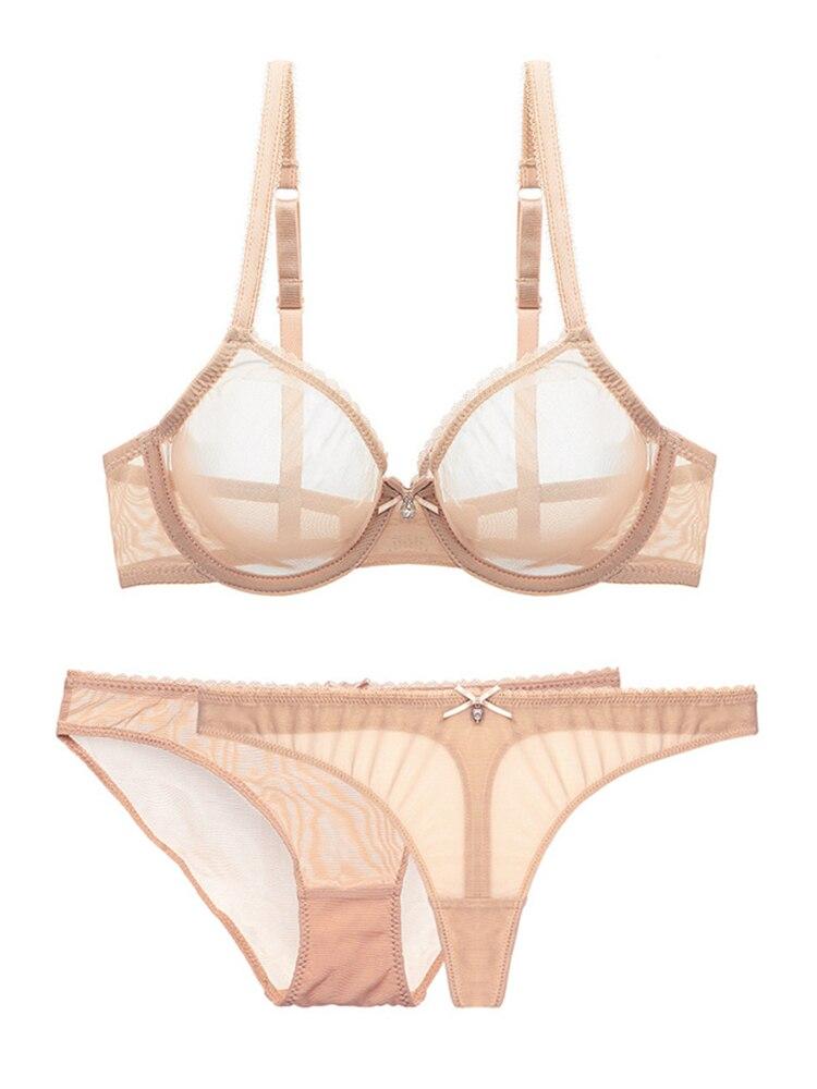 Varsbaby Lace Underwear Bra-Set Mesh 1-Bra Transparent 2-Panties Ladies Ultra-Thin Cup
