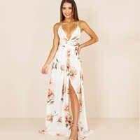 Vestido Maxi de verano para mujer vestido estampado deel cuello en V sin mangas Spaghetti Strap Backless Side Split Sexy vestidos largos verano 2018