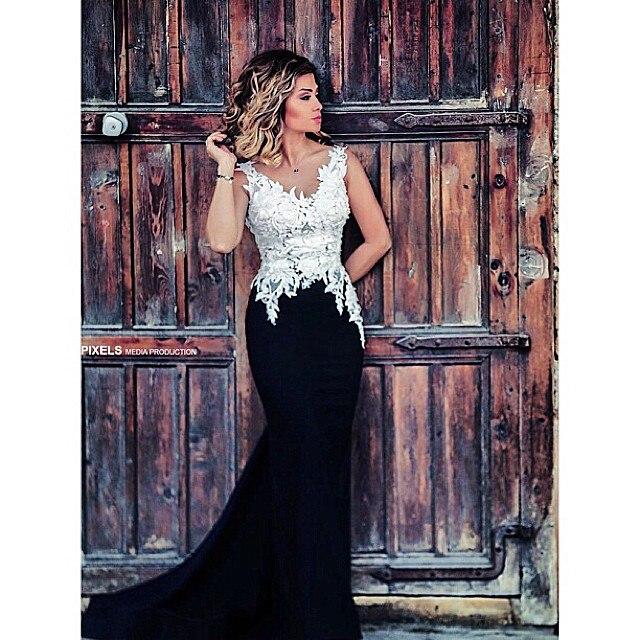 Caftan Marocain Backless sirène sans manches noir et blanc robe De soirée  De réservoir avec Appliques 8edfb462ad8