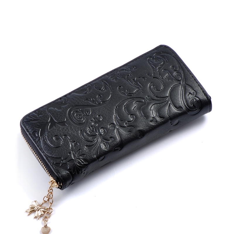 Wulekue Cow Leather Flower Embossing Women Coin Purses Holders Zipper Wallet Female Money Bags Long Cards Purses 2017 new ladies purses in europe and america long wallet female cards holders cartoon cat pu wallet coin purses girl
