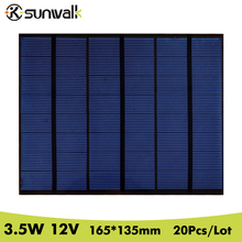 SUNWALK 20PCS/Lot 3.5W 12V Solar Panel Polycrystalline PET Solar Cell Panel DIY for Solar System and Experiment 165*135mm