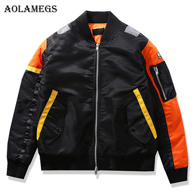 Aolamegs Winter Jacket Men Patchwork Hit Color Thick MA 1 Bomber Jackets Men Loose Fashion Men