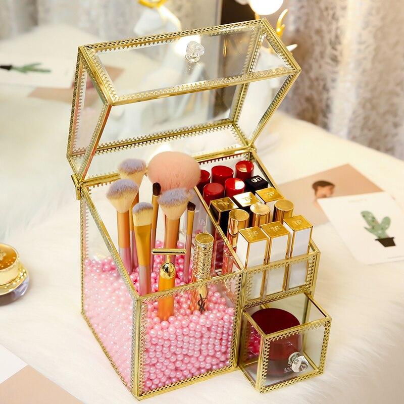 Nowy styl szuflada styl Multer layer szklane jasne makijaż perły kosmetyczne szczoteczki do przechowywania Box Case Stand stojak szuflady pudełko do przechowywania w Skrzynki i pojemniki od Dom i ogród na  Grupa 3
