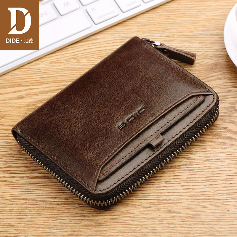 DIDE 2018 New Design Genuine leather Fashion Female Purse Zipper Cash Photo Holder Wallet For Woman Wallet men brand 710