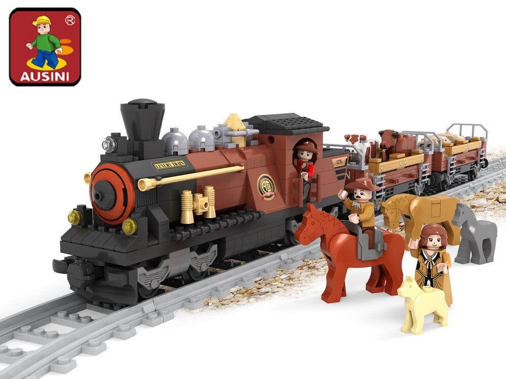 AUSINI 2017 New 25813 Old Train building blocks train 531pcs Train Bricks Blocks children s educational