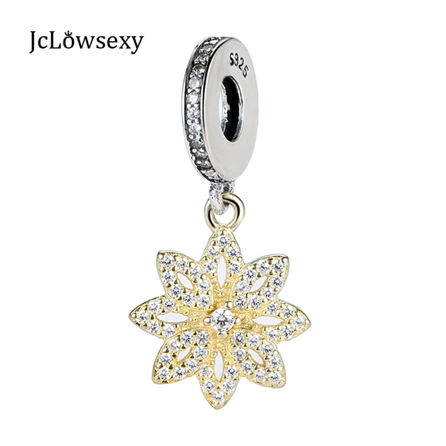 Jclowsexy 925 Sterling Silver Bead Charm Gold Snowflake Dangle With
