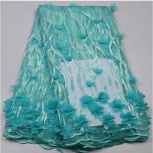 Африканский шнурок Бесплатная Доставка голубой 3D Кружевной Ткани Высокого качество Африканских 3d Французский Чистая Кружевной Ткани Для Свадебного Платья NA577B-2