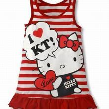 Модное Полосатое платье с рисунком hello kitty для маленьких девочек детское платье-майка Одежда для девочек красный, розовый