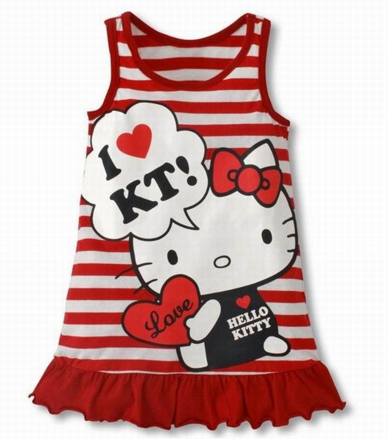 2018  Fashion Baby Girls Cartoon Hello Kitty Stripe Dress Children's Vest  Dress Girls' Clothing Red Pink