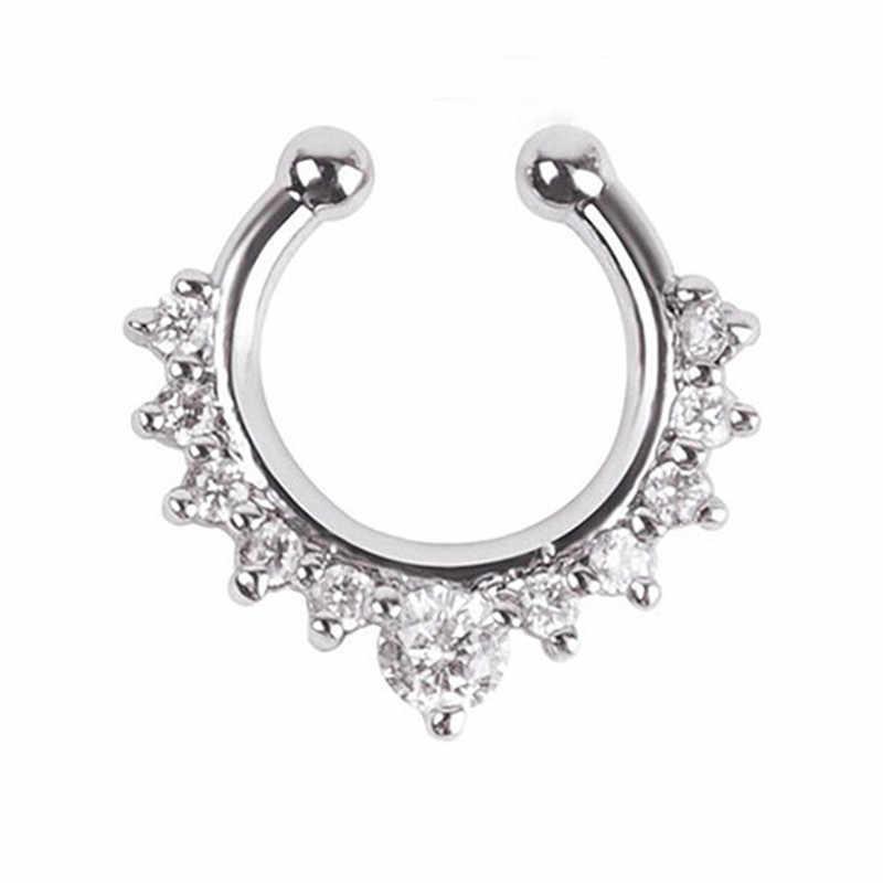 EK165 новый кристалл кликер поддельная перегородка для женщин Зажим обруч кольцо для носа искусственный пирсинг позолоченный посеребренный подарок для мужчин и девочек украшения для тела