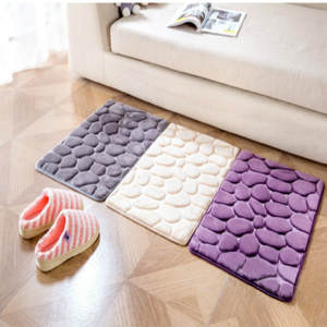 Carpet-Set Non-Slip-Mats Bathroom-Decor Memory-Foam Toilet-Pattern Floor Coral-Fleece