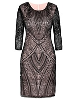 PrettyGuide Women 1920s Flapper Dress Beaded Deco Long Sleeve Cocktail Gatsby Dress