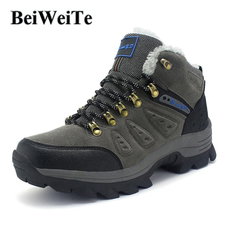 Heren plus vacht wandelschoenen voor de winter warm echt leder trail sneakers voor heren trekking jacht klimmen outdoor sportschoenen