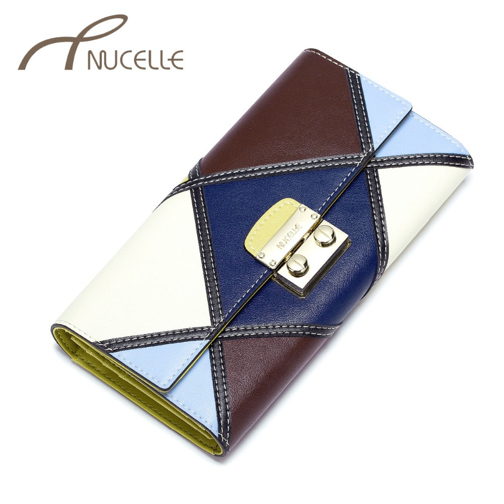 NUCELLE Women Split Leather Wallets Female Fashion Patchwork Cowhide Wallet Ladies Leather Vintage Lock Phone Coin Purse simline fashion genuine leather real cowhide women lady short slim wallet wallets purse card holder zipper coin pocket ladies