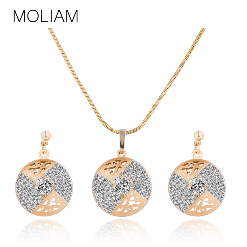 MOLIAM Top Quality Jewellery Set Women Gold-Color Crystal Zircon Round Pendants Necklace Stud Earrings MLT018