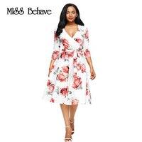 Autumn Dress Women 2017 Dress Elegant Ladies Floral Print Dress Sexy Women V Neck Empire A