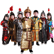 General Armour Stage Show Performance TV Play Kids Outfit Ancient Chinese general armor Children Cosplay warrior Boy Costume