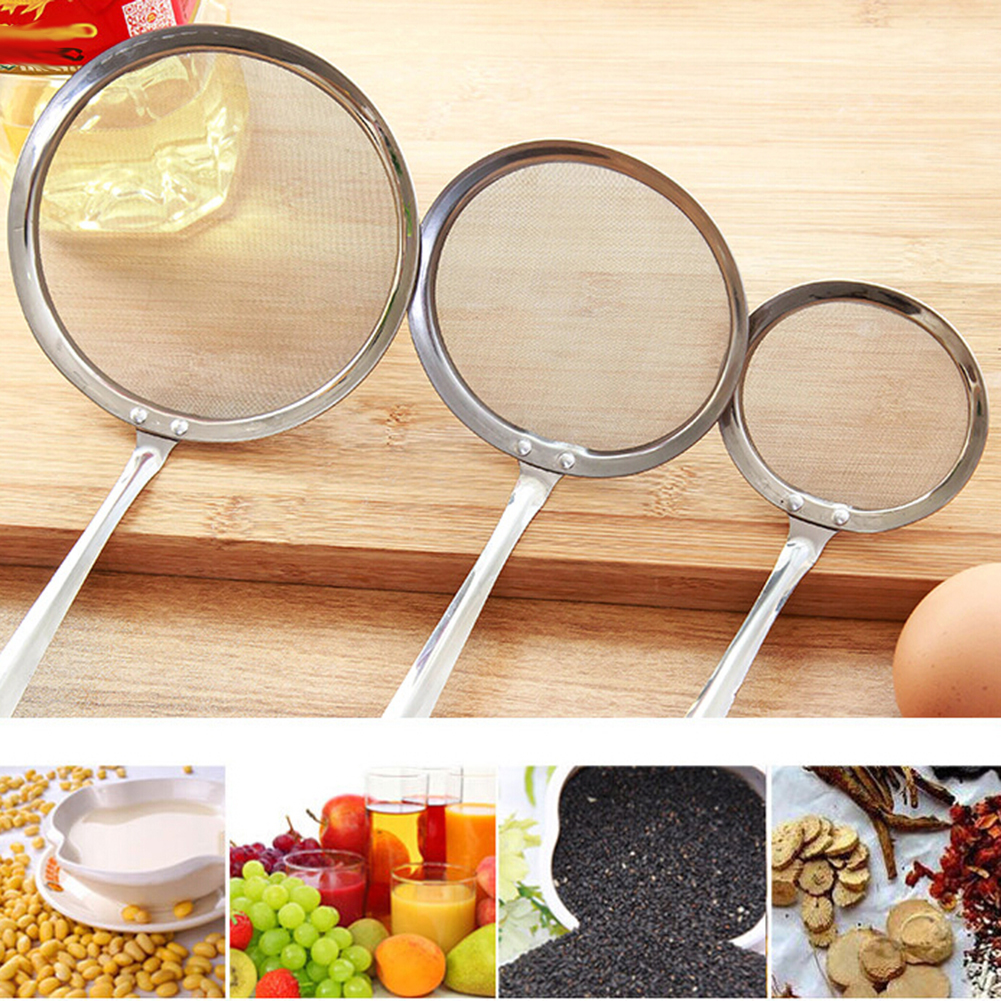 Durable Stainless Steel Long Handle Mesh Strainer Food Water Oil Colander Strainer Mesh Fliter Sifter Kitchen Cooking Tools in Colanders Strainers from Home Garden