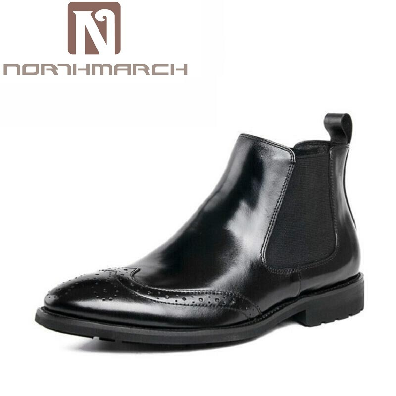 NORTHMARCH Brand Chelsea Men Boots Top Quality Handsome Comfortable Retro Genuine Leather Men Winter Boots sapatos masculino цены онлайн