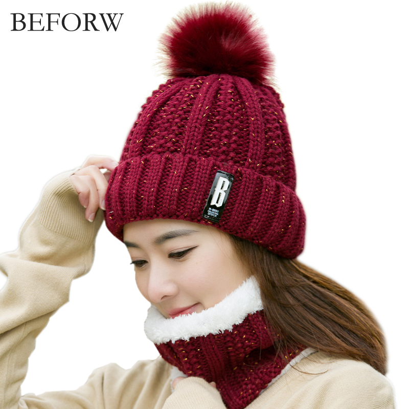 BEFORW Winter Women Scarf Hat Set Knit Wool Real Fur Hats And Infinity Scarves For Women Girl 's Hat Knitted Warm Beanies Cap wool felt cowboy hat stetson black 50cm