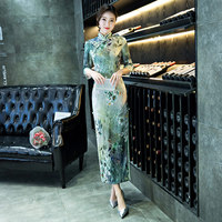 New Arrival Long Slim Women Cheongsam Dress Chinese Ladies' Satin Qipao Novelty Sexy Flower Dress Size M L XL XXL XXXL
