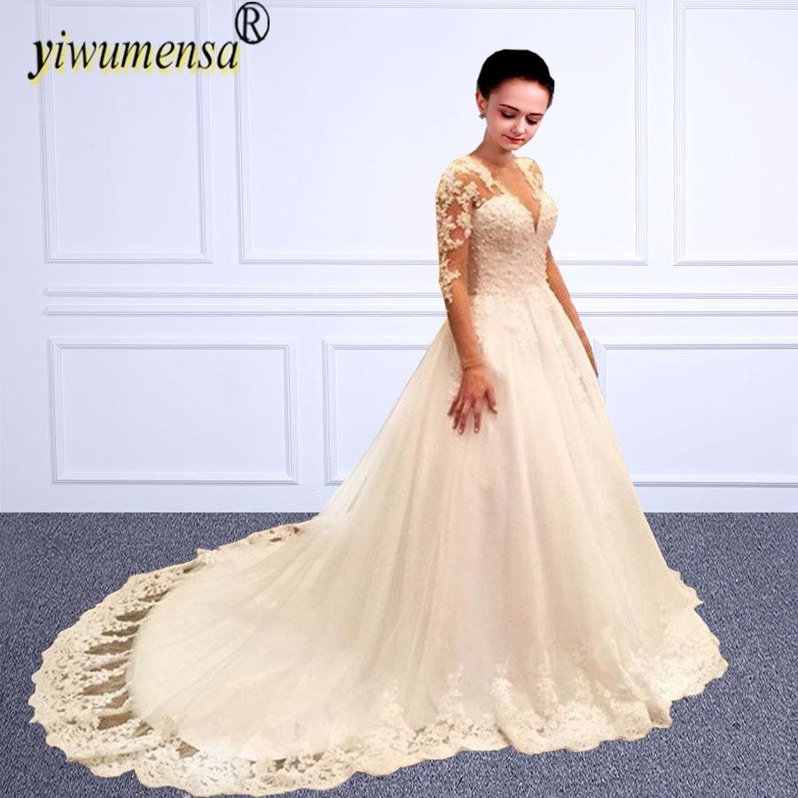 Vestido De Noiva 2017 New Elegant Lace Applique Tulle: Yiwumensa Lace A Line Muslim Wedding Dress Elegant Tulle
