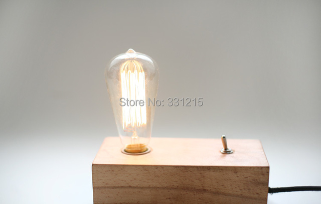 Natural Wood Color Vintage Edison Wooden Lamp Base Old Fashion With T64 Light Bulb Desk Table Lamps Dark