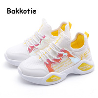 Bakkotie 2019 Autumn Girls New Breathable Sports Shoes Baby Boys Black Running Sneakers Kids Fashion Slip On Soft Casual Shoes