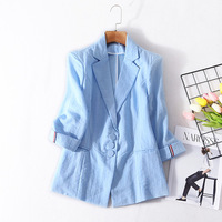 Cotton Single Breasted Three Quarter Sleeve Casual Blazers 2018 New Runway High Quality Office Lady Women