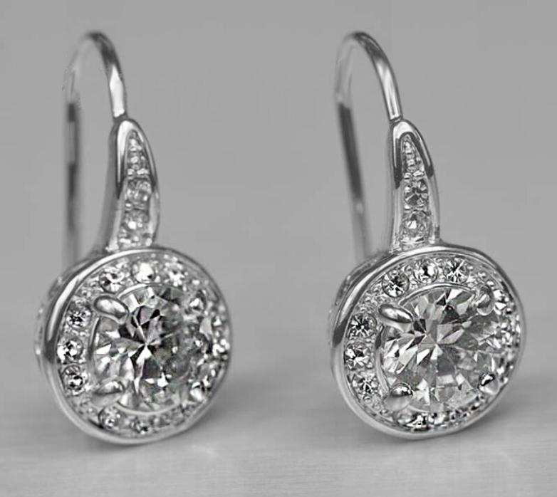OMH wholesale buy 5pair OFF20% silver 18KT white gold Austrian crystals fashion Super flash crystal Dangle Earrings EH132