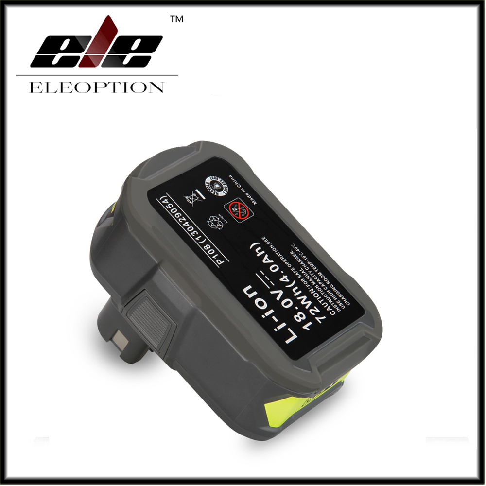 Eleoption 18V 4000mAh Li-Ion For Ryobi P108 RB18L40 High Capacity Rechargeable Battery Pack Power Tool Battery Ryobi ONE+