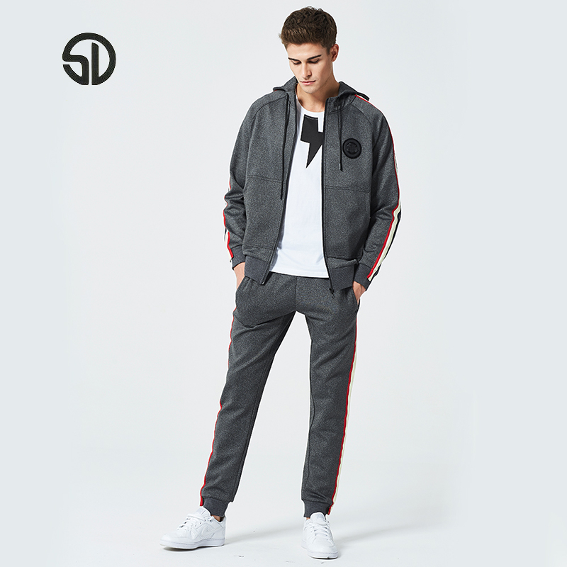 Europe Size Two Piece Set Tracksuit Men Breathable Brand Clothing 2018 Fashion Casual Men Sporting Hoodies+Pant Sweatsuit Men